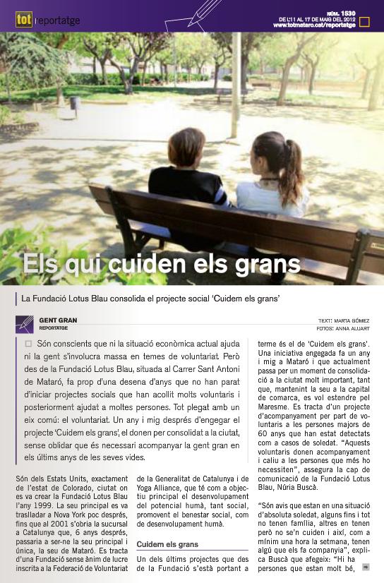 Article sobre el Projecte Cuidem els Grans a la revista Tot Mataró