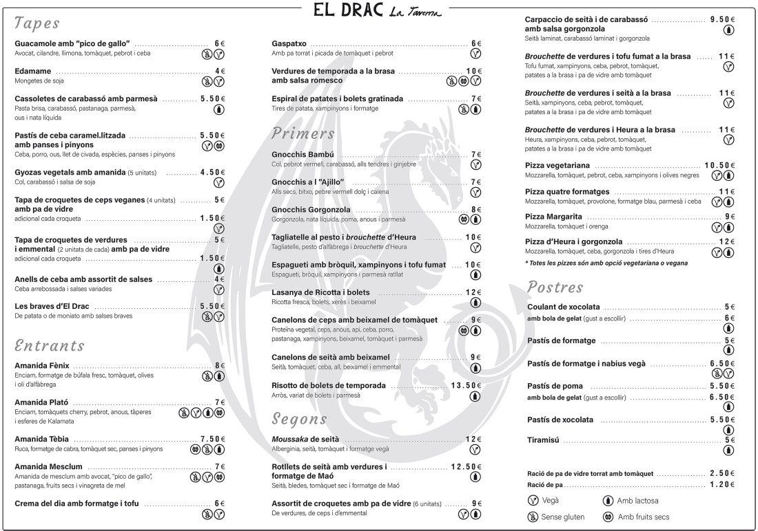 Restaurante vegetariano-carta
